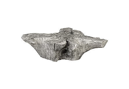 Chamcha Wood Thick Coffee Table Freeform, Grey Stone