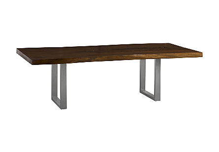 Chamcha Wood Dining Table Perfect Brown, Brushed Stainless Steel Legs