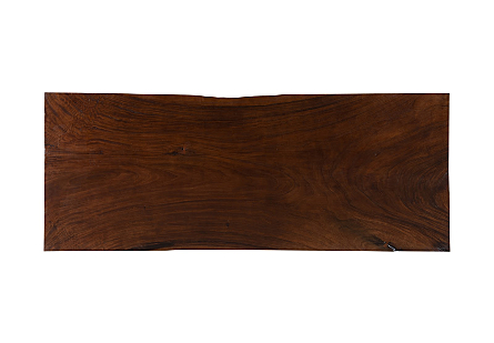 Live Edge Chamcha Wood Dining Table Perfect Brown, Brushed Stainless Steel Legs