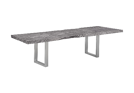 Live Edge Chamcha Wood Dining Table Grey Stone, Brushed Stainless Steel Legs