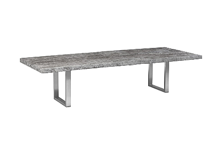 Chamcha Wood Dining Table Grey Stone, Brushed Stainless Steel Legs