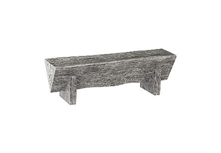 Chamcha Wood Triangle Bench Grey Stone