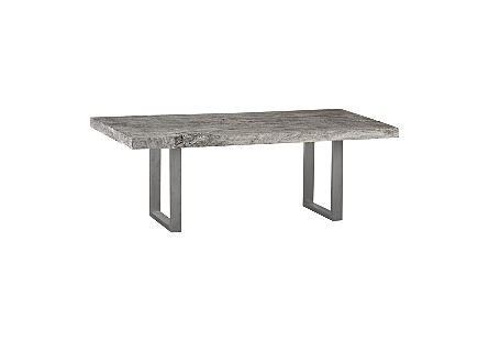 Live Edge Dining Table, Chamcha Wood Grey Stone, Brushed Stainless Steel Legs