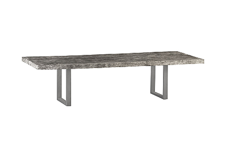 Chamcha Wood Dining Table Brushed Stainless Steel Legs, Grey Stone
