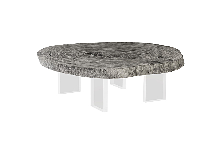 Floating Coffee Table on Acrylic Legs Chamcha Wood, Grey Stone, Size Varies