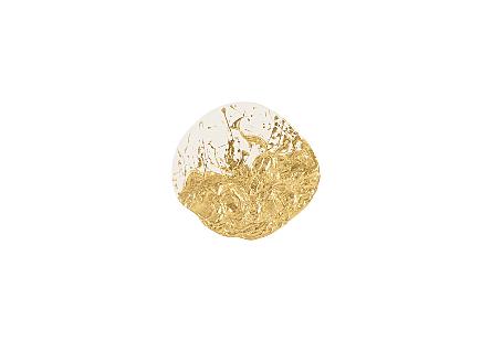 Wisp Wall Tile Chamcha Wood, Gold Leaf on White