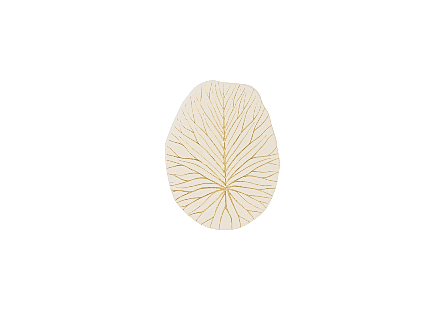 Rivulet Wall Tile Chamcha Wood, Gold Leaf on White
