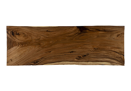 Live Edge Chamcha Wood Dining Table Natural, Brushed Stainless Steel Legs
