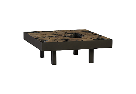Maki Coffee Table Pipal Wood, Square,  w/Glass