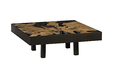 Maki Coffee Table Pipal Wood, Iron Frame, Square,  w/Glass