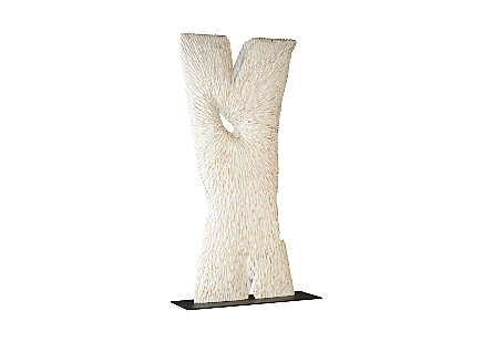 Chainsaw Sculpture on Stand Chamcha Wood, White/Gold