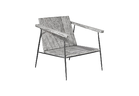 Forged Leg Arm Chair Metal, Grey Stone / Black