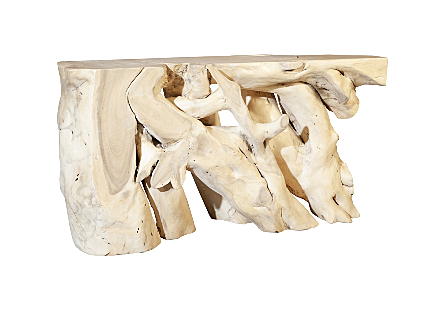 Chamcha Wood Console Table Super Bleached, SM